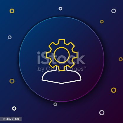 624717328 istock photo White and yellow line Human with gear inside icon isolated on dark blue background. Artificial intelligence. Thinking brain sign. Symbol work of brain. Colorful outline concept. Vector Illustration 1244772091