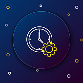 White and yellow line Time Management icon isolated on dark blue background. Clock and gear sign. Productivity symbol. Colorful outline concept. Vector Illustration