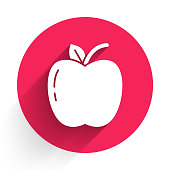 istock White Apple icon isolated with long shadow. Fruit with leaf symbol. Red circle button. Vector Illustration 1270639523
