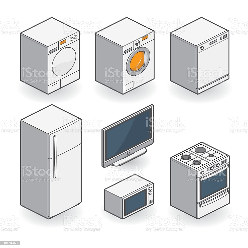 white appliances - isometric royalty-free stock vector art