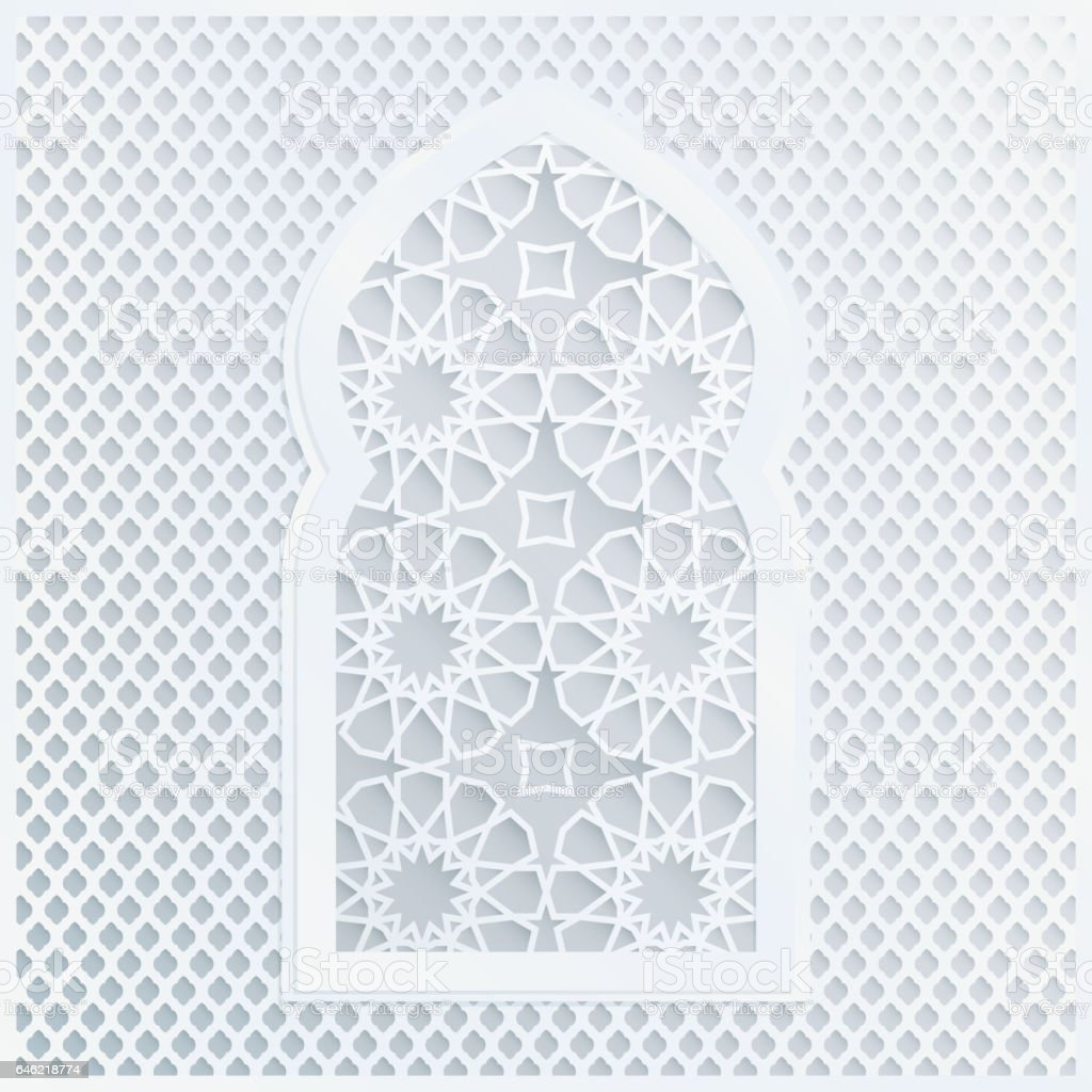 White arabic ornamental mosque window vector illustration card white arabic ornamental mosque window vector illustration card invitation for muslim community holy month stopboris Images
