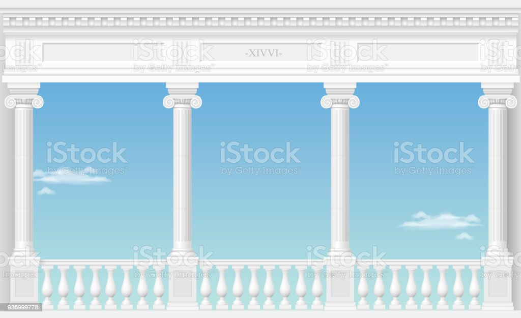 White arch of the palace vector art illustration
