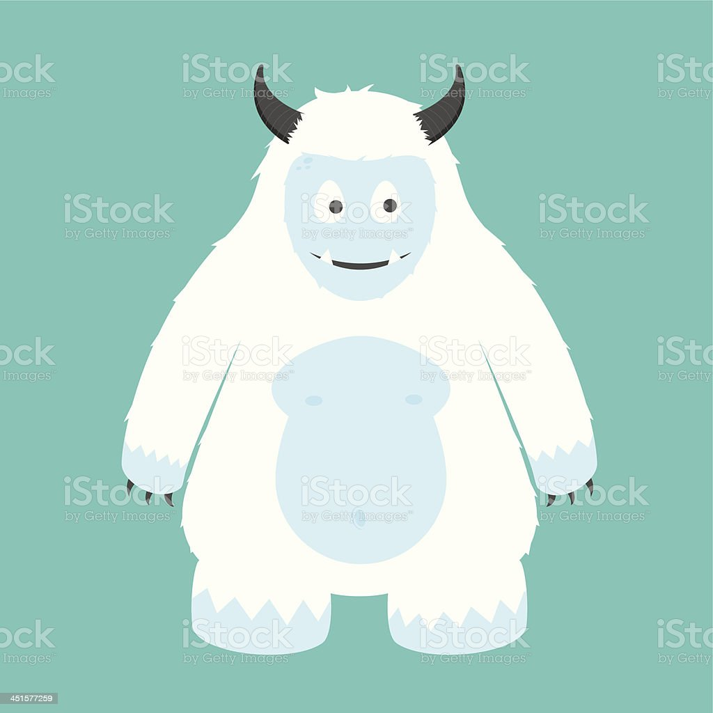 White Arctic Yeti Character Illustration vector art illustration