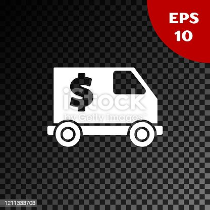 White Armored truck icon isolated on transparent dark background.  Vector Illustration