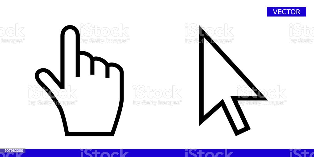 White arrow and finger hand cursor pointer icons vector illustration set isolated on white background