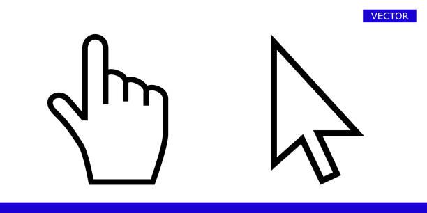 흰색 화살표와 손가락 손 커서 포인터 아이콘 벡터 일러스트 레이 션 세트 흰색 배경에 고립 - 커서 stock illustrations