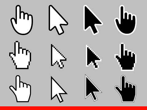 White arrow and pointer hand cursor icon set. Pixel and modern version of cursors signs. Symbols of direction and touch the links and press the buttons Isolated on gray background vector illustration.