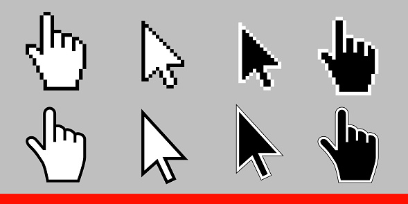 White arrow and pointer hand cursor icon set. Pixel and modern version of cursors signs. Symbols of direction and touch the links and press the buttons. Isolated on gray background vector illustration clipart