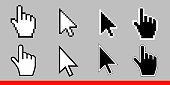 White arrow and pointer hand cursor icon set. Pixel and modern version of cursors signs. Symbols of direction and touch the links and press the buttons. Isolated on gray background vector illustration