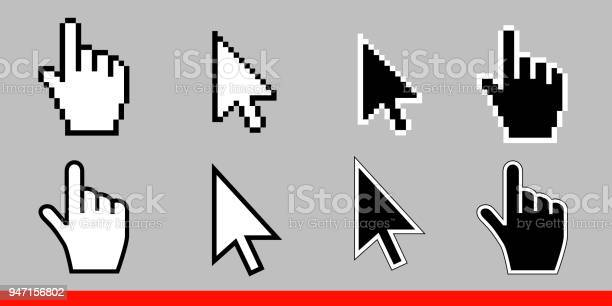 White arrow and pointer hand cursor icon set pixel and modern version vector id947156802?b=1&k=6&m=947156802&s=612x612&h=ldfved0 gaxbmbktzrh womiqfhji0q2dzmiaeuhyvo=