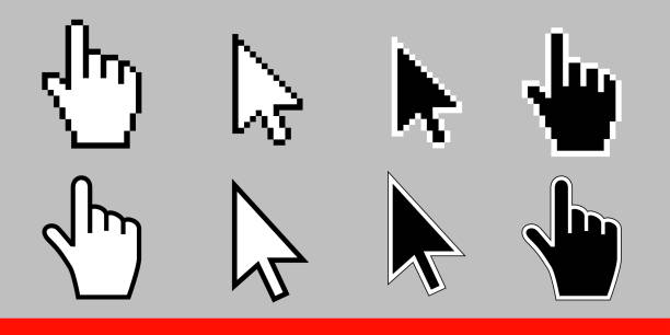 ilustrações de stock, clip art, desenhos animados e ícones de white arrow and pointer hand cursor icon set. pixel and modern version of cursors signs. symbols of direction and touch the links and press the buttons. isolated on gray background vector illustration - hand