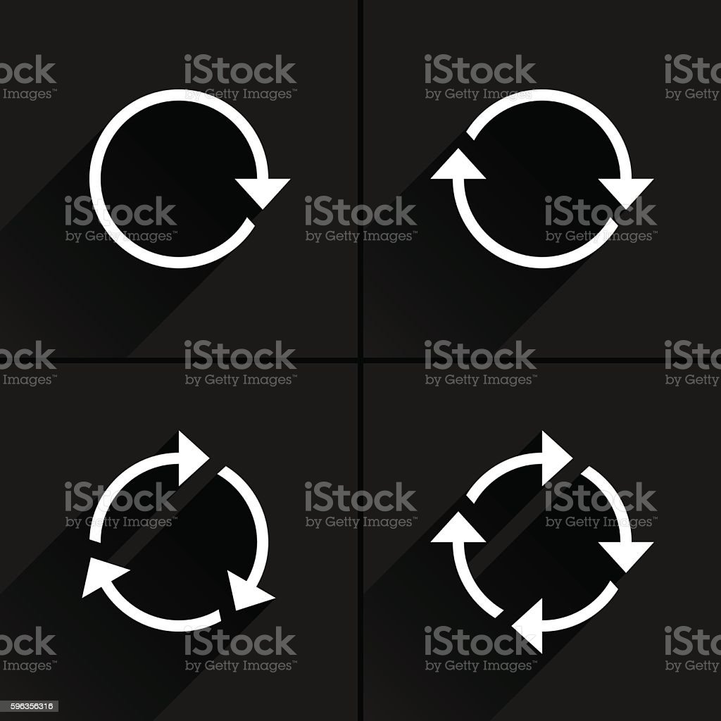 White arrow loop, refresh, reload, rotation icon royalty-free white arrow loop refresh reload rotation icon stock vector art & more images of application form