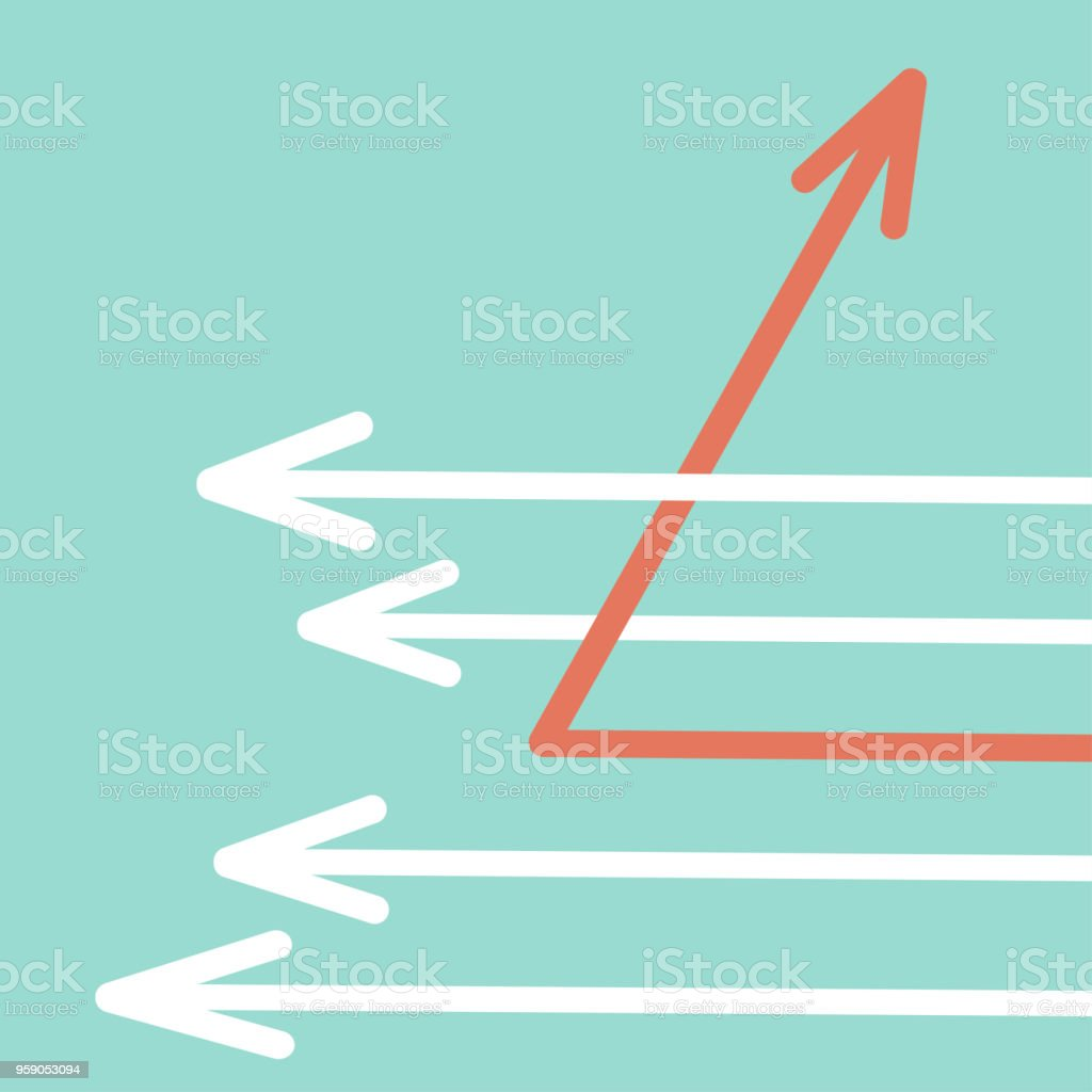 white arrows and one red arrow changing direction, change management, business concept vector art illustration