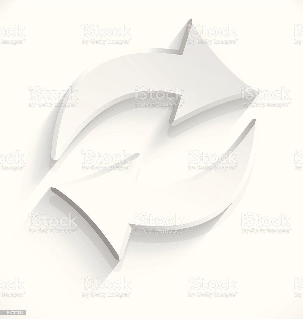 White arrows sink icon 3d vector art illustration