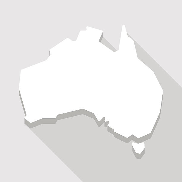 white Australia map shape icon vector art illustration