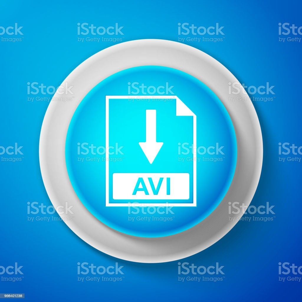 White AVI file document icon isolated on blue background. Download AVI button sign. Circle blue button with white line. Vector Illustration vector art illustration