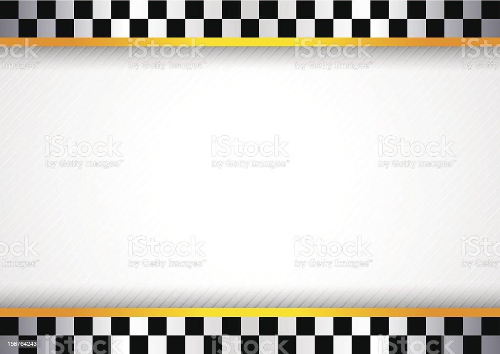 White background featuring checkered flag border vector art illustration