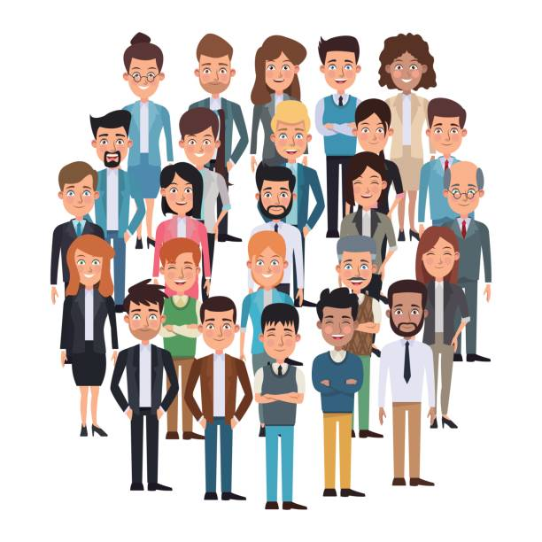 white background full body executive people meeting for characters business vector art illustration
