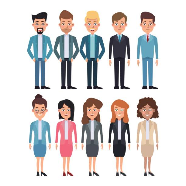 white background full body set of multiple women and men characters for business vector art illustration