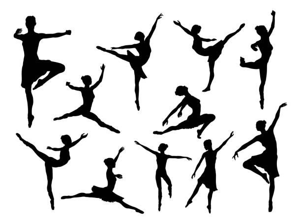 white background, isolatedBallet Dancer Silhouettes A set of high quality detailed silhouettes of a ballet dancer dancing in various poses and positions female likeness stock illustrations