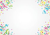 White background of colorful confetti and streamers