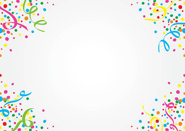 white background of colorful confetti and streamers - streamer stock illustrations, clip art, cartoons, & icons