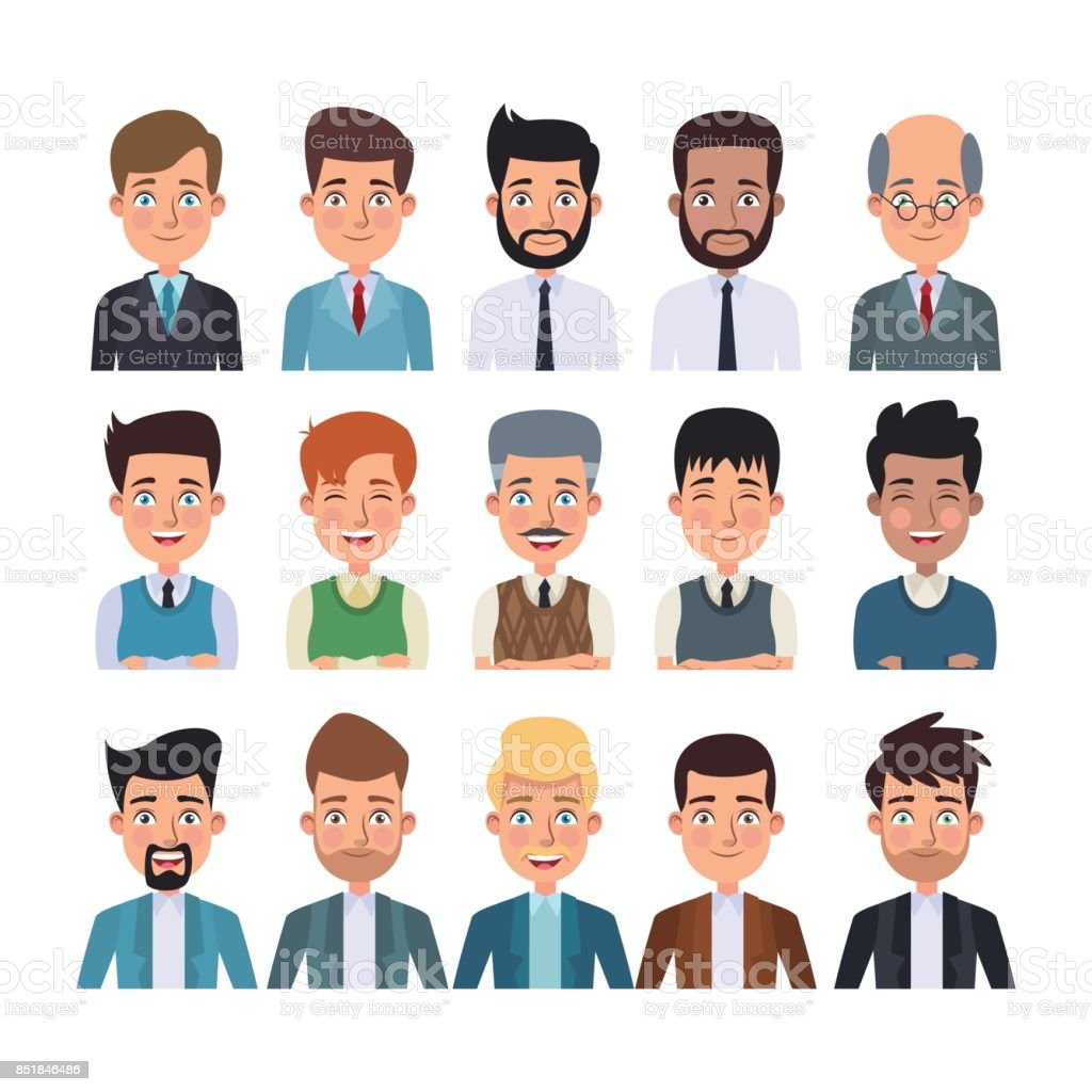 white background of colorful half body set of multiple men characters for business vector art illustration