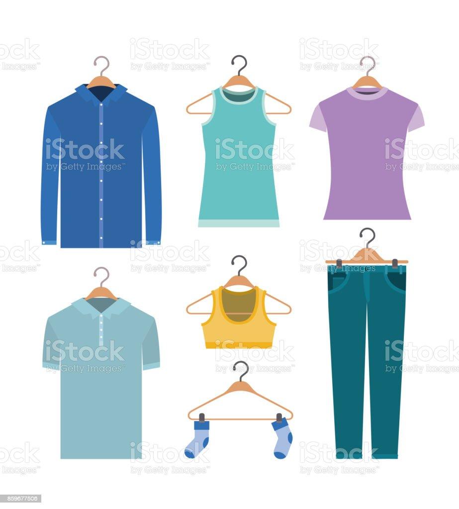 fondo blanco de la ropa de colores elementos en suspensiones - ilustración de arte vectorial
