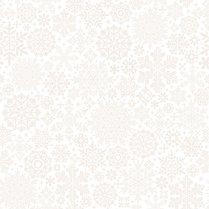 white background of snow crystals and doilies.