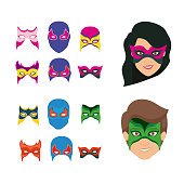 white background set ccollection mask of super hero male and female
