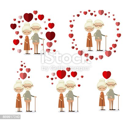 istock white background set full body elderly couple inlove grandparents with hearts floating around 859917240