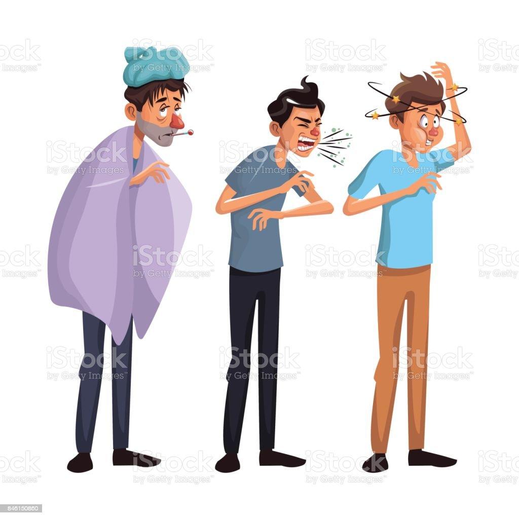white background set full body standing sick people male vector art illustration