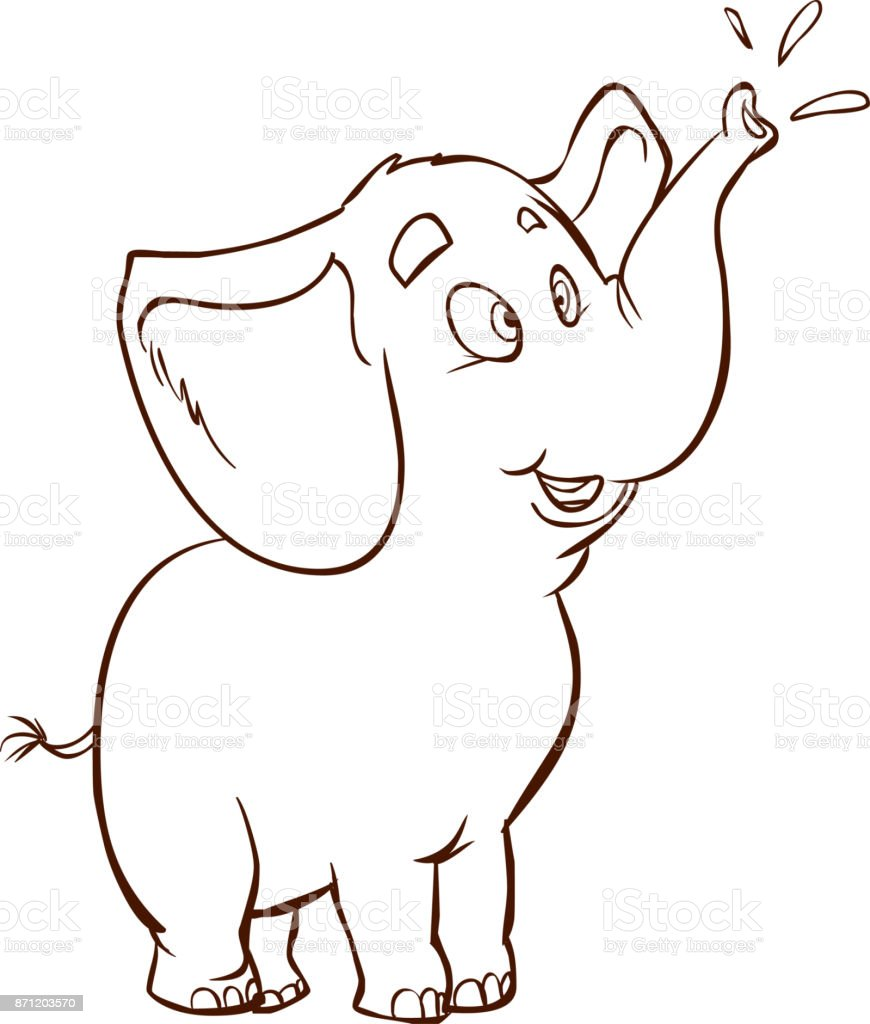 white background vector illustration of a Baby elephant vector art illustration