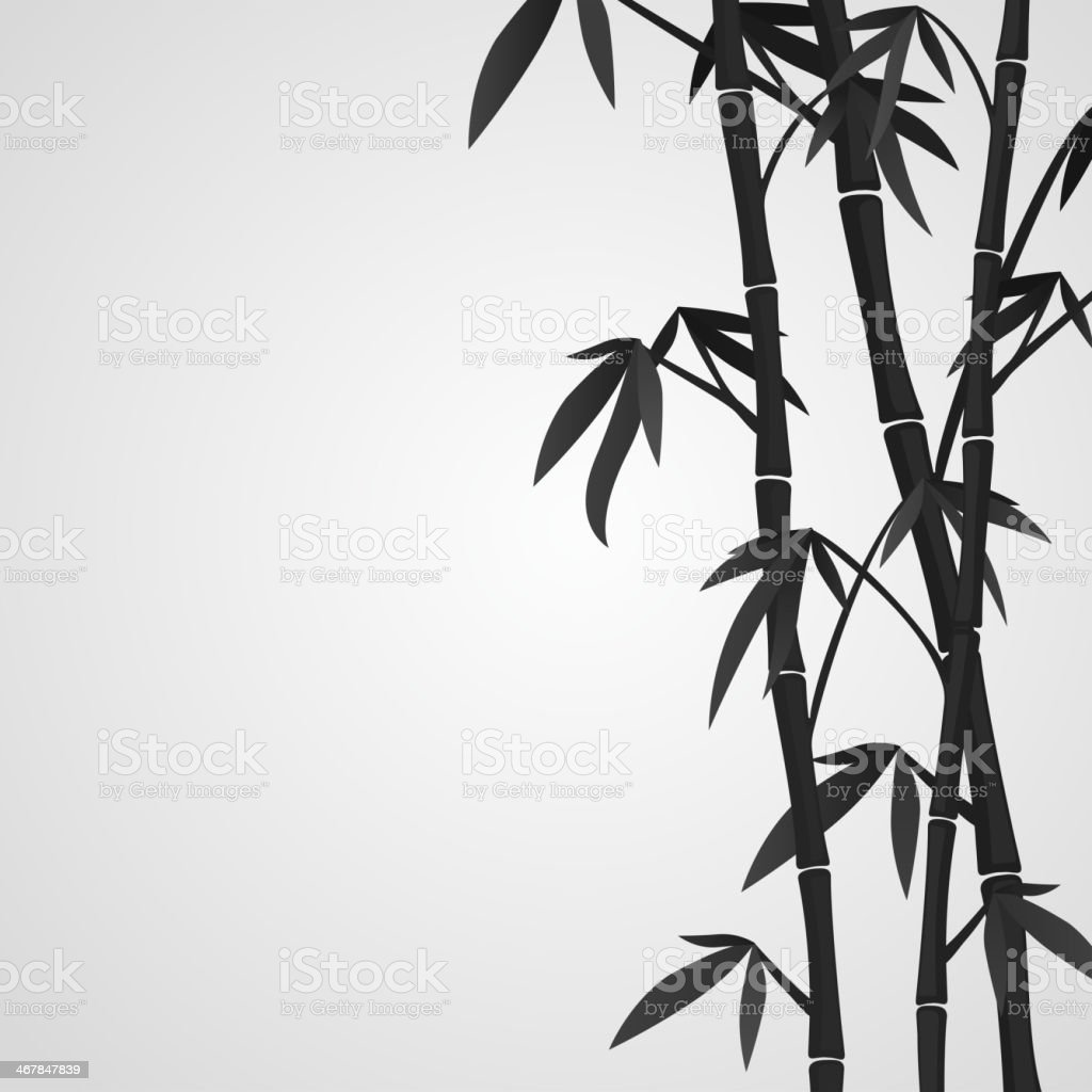 White background with black bamboo stems vector art illustration