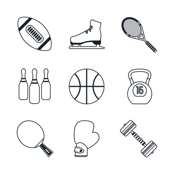 white background with black silhouettes of sports elements vector art illustration
