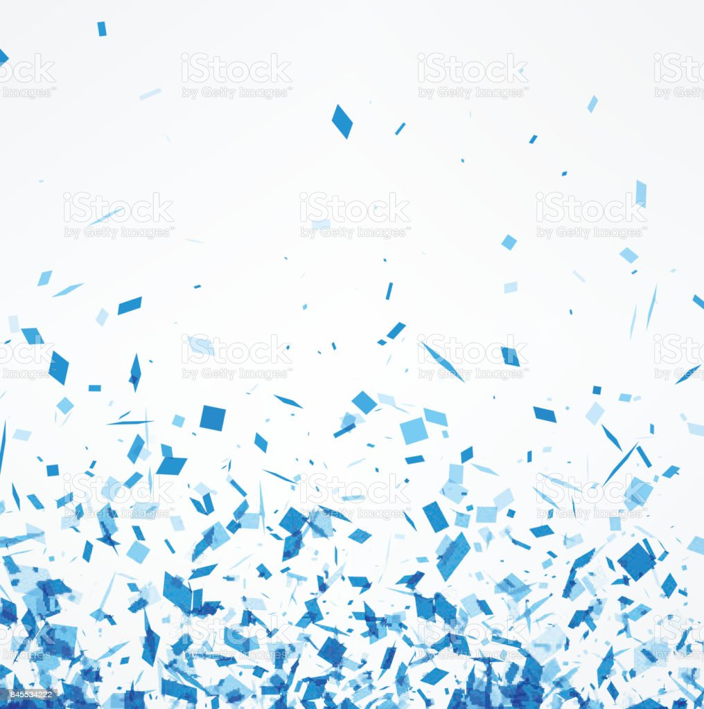 White background with blue confetti. vector art illustration