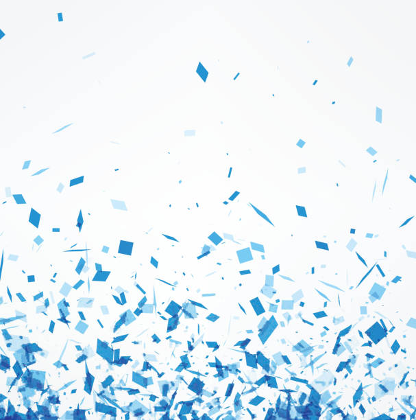 white background with blue confetti. - confetti stock illustrations