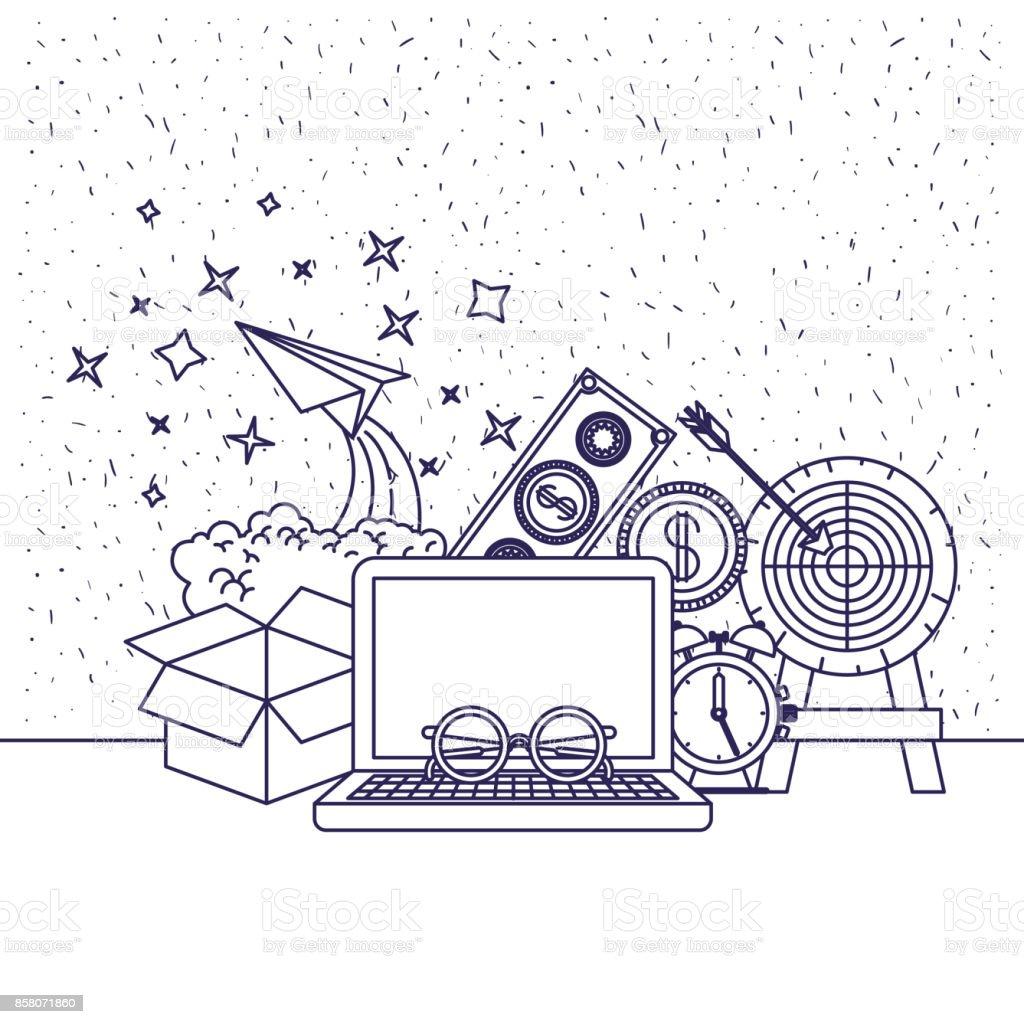 fondo blanco con la silueta azul del ordenador y plano de reloj y papel y dinero - ilustración de arte vectorial