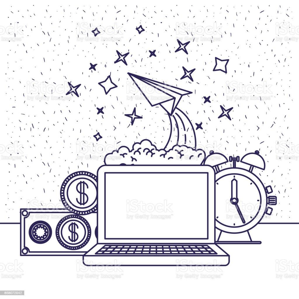 fondo blanco con la silueta azul de computadora y plano de reloj y papel y dinero en closeup - ilustración de arte vectorial