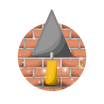 white background with circular brick wall and trowel spatula