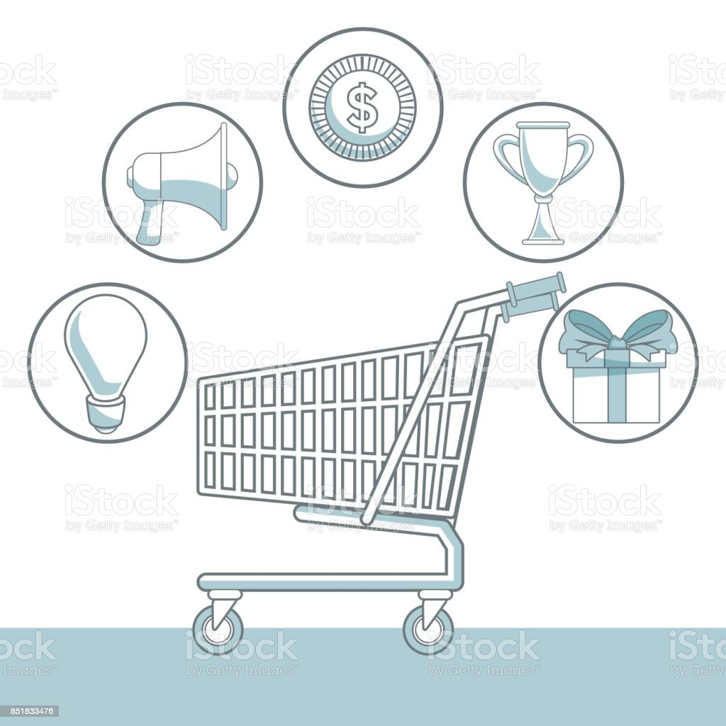 White Background With Color Sections Of Shopping Cart And Icons Diagram Element Marketing Royalty Free
