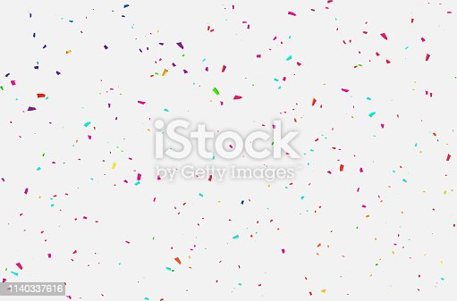 White background with colorful confetti Celebration carnival ribbons. luxury greeting rich card.