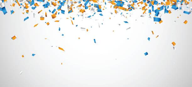 Weißer Hintergrund mit bunten Konfetti. – Vektorgrafik