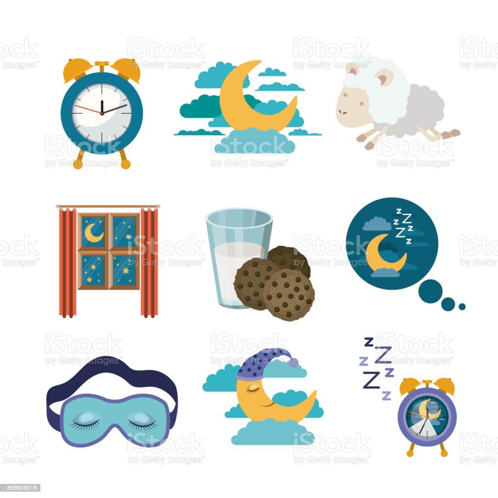 fondo blanco con elementos coloridos sueño tiempo - ilustración de arte vectorial