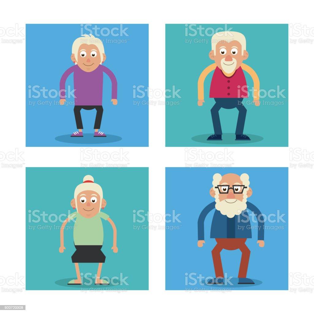 Weißer Hintergrund Mit Bunten Rahmen Großeltern Stehen Und Eins Mit ...