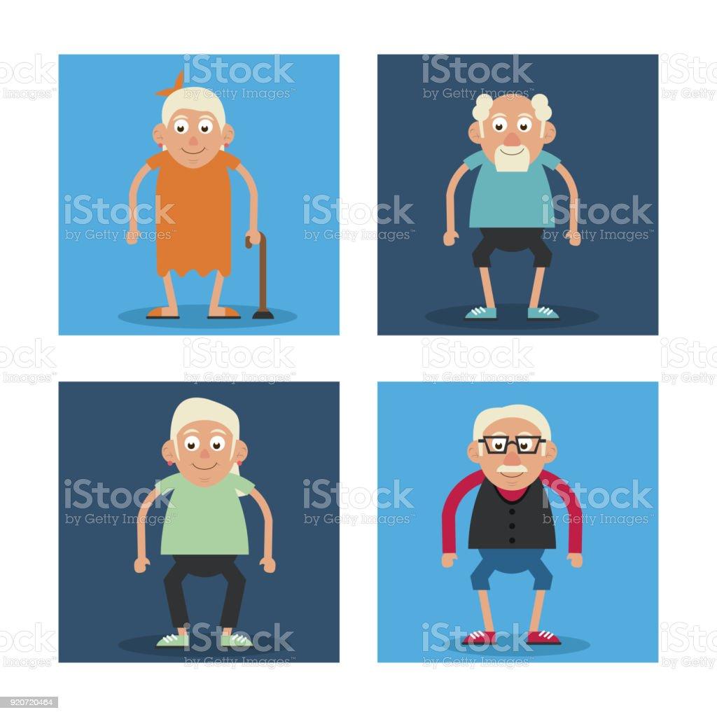 Weißer Hintergrund Mit Bunten Rahmen Großeltern Stehen Und Oma Mit ...