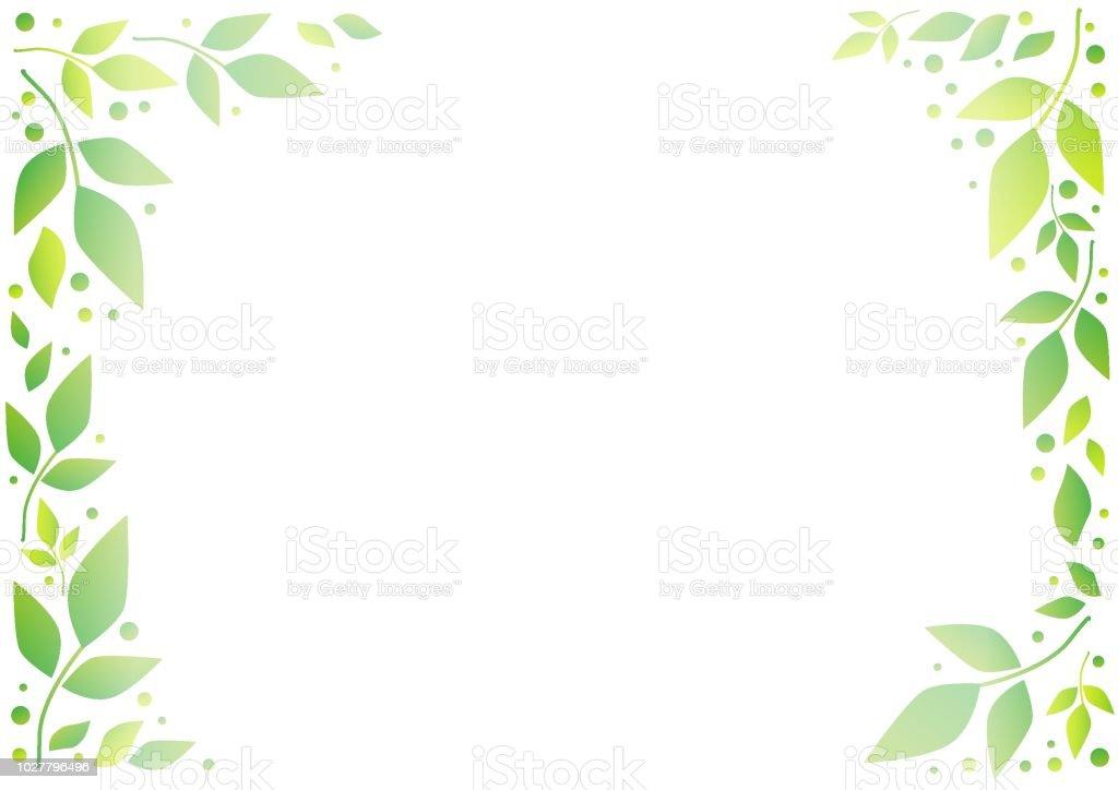 Ilustración De Fondo Blanco Con Marco Decorativo De Hojas