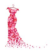 White background with dress of pink petals