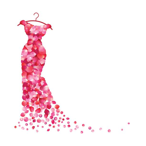 white background with dress of pink petals - womens fashion stock illustrations