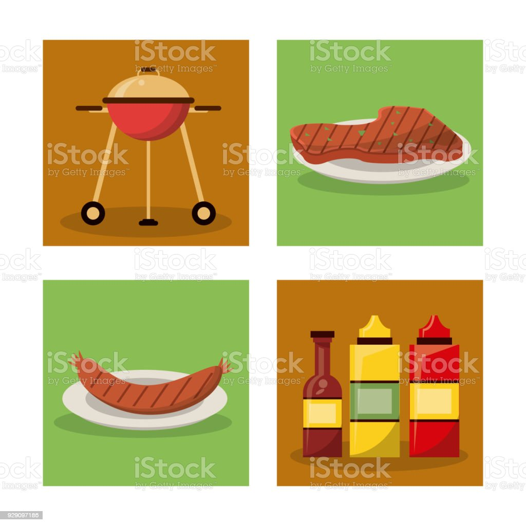 White Background With Frames Of Picnic Elements With Grill And ...